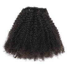 Isheeny 8 шт./компл. афро кудрявые волнистые человеческие волосы на заколке для наращивания волос 12-20 дюймов натуральный цвет 120 г волосы Remy