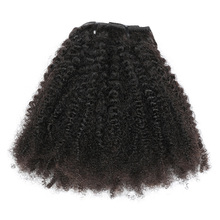 Human-Hair Hair-Extensions Afro Curly Clip-In Isheeny Kinky Natural-Color 12-20-Wave