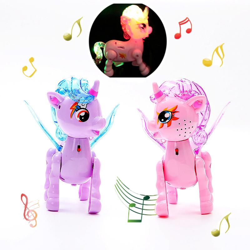Electric Walking Unicorns Animal Toy  Led Light Electronic Singing Music For Kids Chirdren Toys Birthday Gifts
