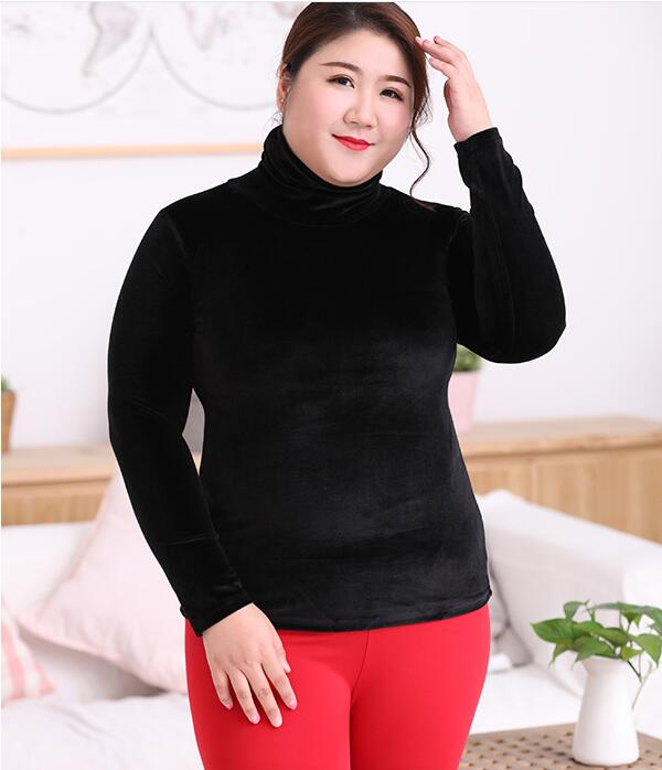 Turtleneck Velvet Thermal Shirt Underwear High Stretch Large Size 6XL Bottoming Tops Shirt Warm Women Winter Thermo Clothing