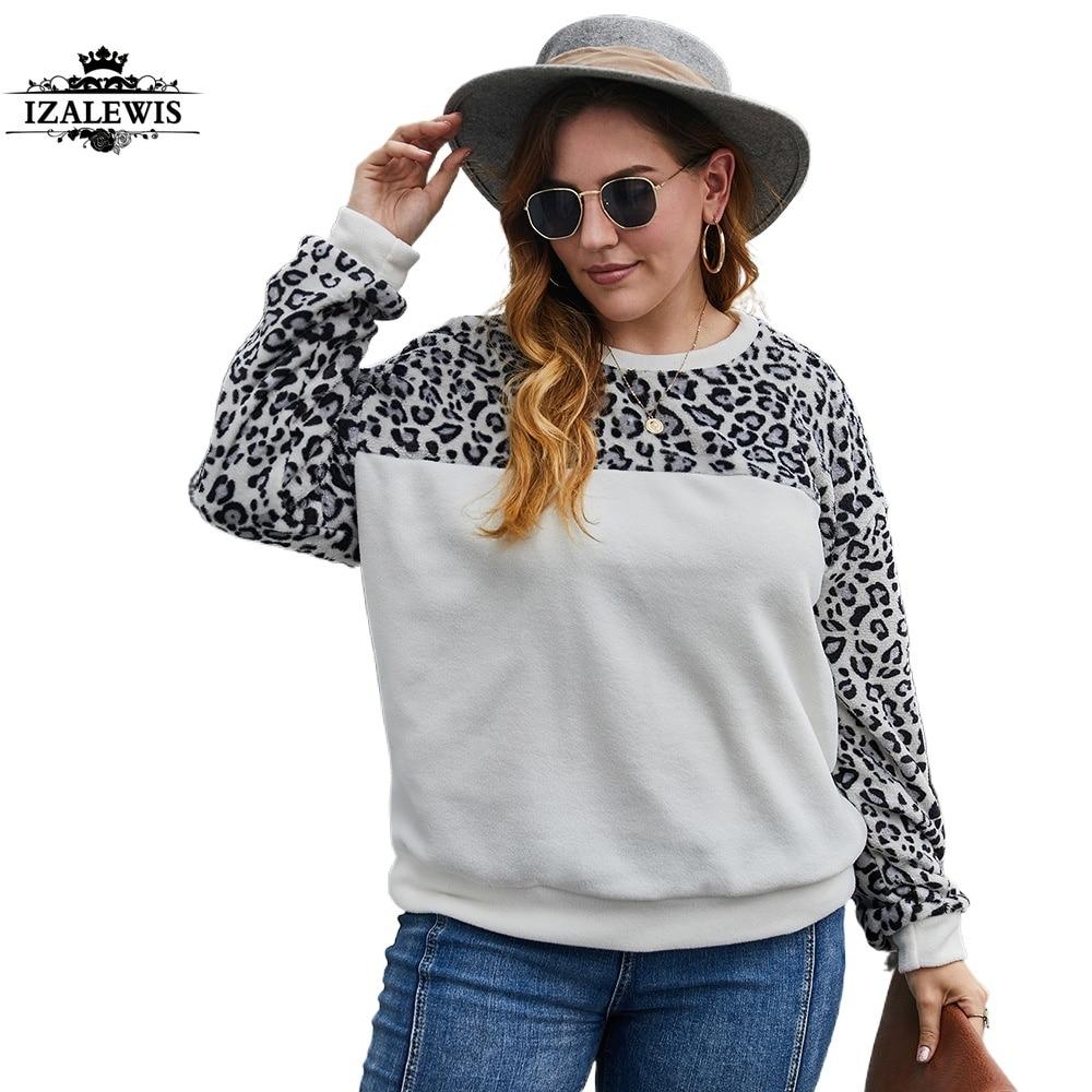 2021 Women New Fashion Spring Autumn Winter Patchwork Leopard O-neck Long Sleeve Plus Size Fleece Hoodie Top Sweatshirt