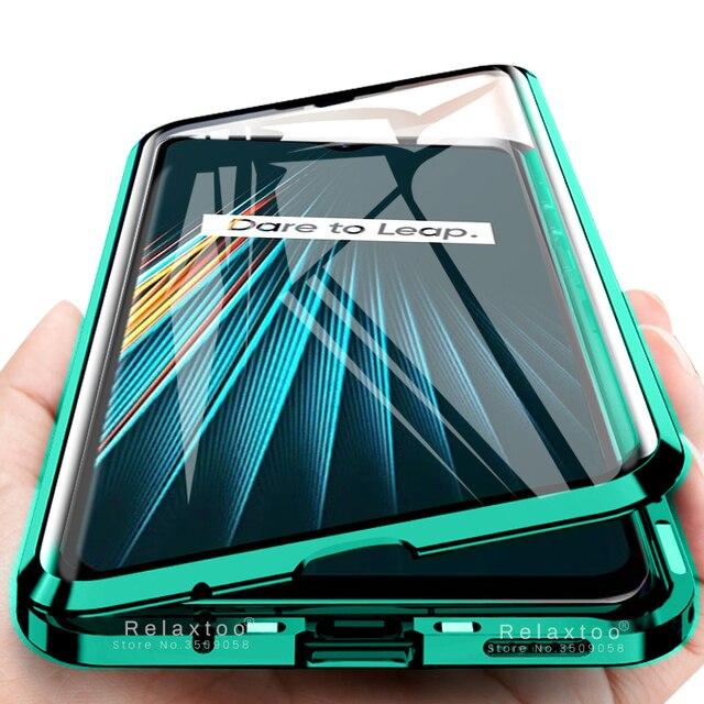 Двухсторонний Магнитный чехол книжка из закаленного стекла на 360 ° для oppo a5 a9 2020 realme 5 pro 5i matel, защитный чехол бампер