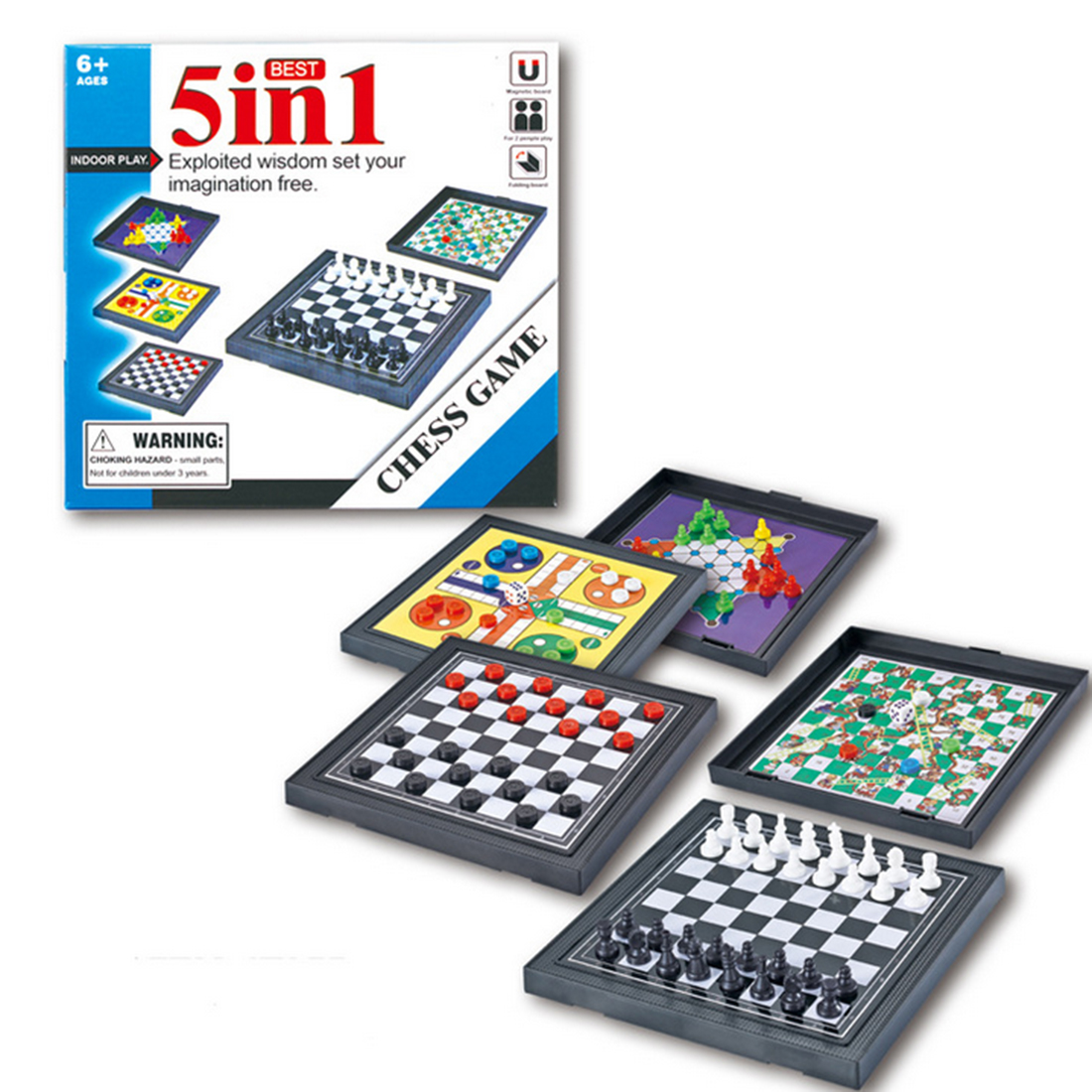 5 In 1 Mini Chess Game Checkerboard Flying Chess Chinese Checkers Magnetic Board Game Set Educational Toy - Main Black
