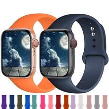 Silikon Strap Für Apple Uhr band 44mm 42mm 40mm 38mm weiche Gummi armband Sport gürtel armband iWatch serie 6 se 5 4 3 42mm