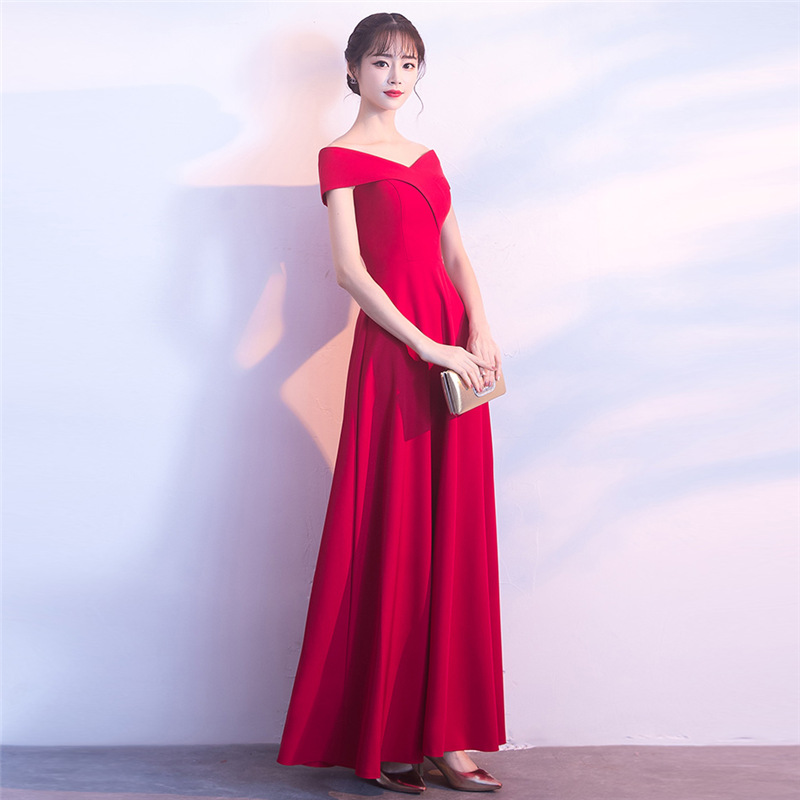 Bride Dress For Toast 2019 Spring New Style Off-Shoulder Long Marriage Huimen Banquet Evening Gown Dress Long Skirts
