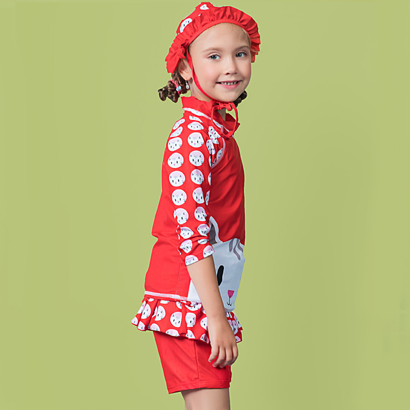 2018 Baby Girls Cute Hot Springs Two-piece Swimsuits Long Sleeve Sun-resistant With Swim Cap Diving Suit Swimwear Olive Flower 2