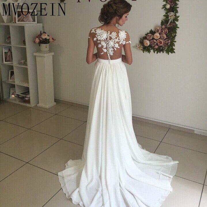 Boho Weiß Hochzeit Kleider Chiffon A linie Cap Sleeves Spitze Brautkleider Hohe Split Hochzeit Kleid vestido de noiva - 3