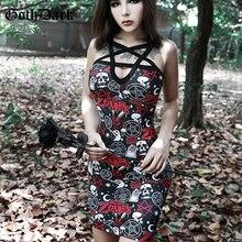 Goth Dark Print Backless Grunge Gothic Dresses Harajuku Patchwork Vintage Aesthetic Fall 2019 Female Dress Pentagram Punk Strap