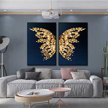 Art painting golden butterfly, golden wings canvas oil painting posters and prints home living room decoration painting