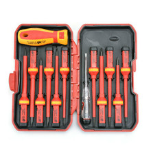 13pcs 1000V hand tools Changeable Insulated Screwdrivers Set + Magnetic Slotted Phillips Pozidriv Torx Bits electrician