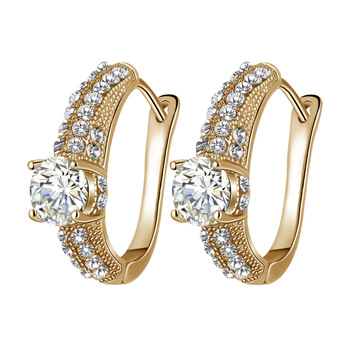 Gold Earrings Transparent Colorful Inlaid AAA Zircon Jewelry Fashion Female Earrings Engagement Jewelry Ladies Exclusive Gifts Fine Jewellery Jewellery & Watches Women's Fashion