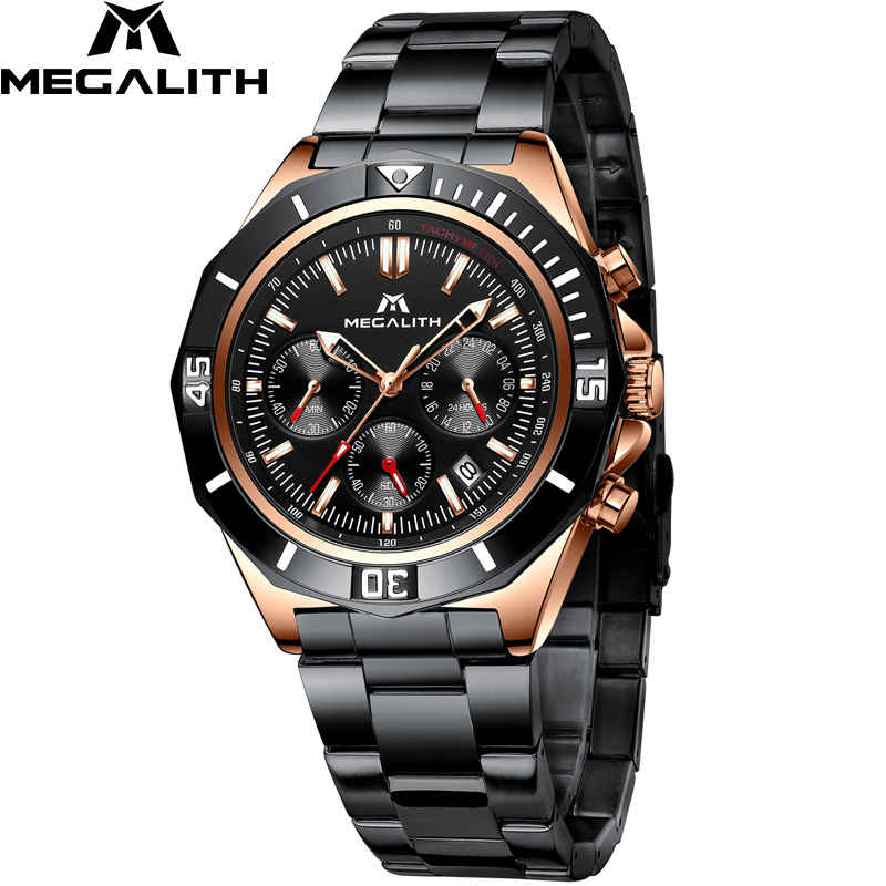 MEGALITH Fashion Quartz Watch For Man Black Stainless Steel Men Watches Top Brand Waterproof Sport Chronograph Watch Clock 8206|Quartz Watches| |  - title=