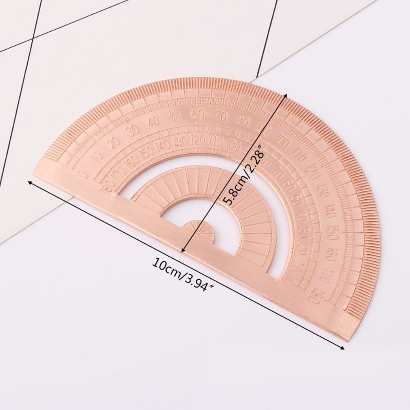 Retro Copper Protractor Ruler Semicircle Drawing Measurement Math Geometry Tool For Students Stationery AXYF