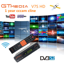 GTMedia V7S Satellite Receiver for 1 Year Europe Cline +USB WIFI 1080P Full HD DVB-S2 Receptor Support Youtube PowerVu freesat freesat gtmedia v7s hd satellite receiver full 1080p dvb s2 hd support ccam powervu youpron set top box vs freesat v7