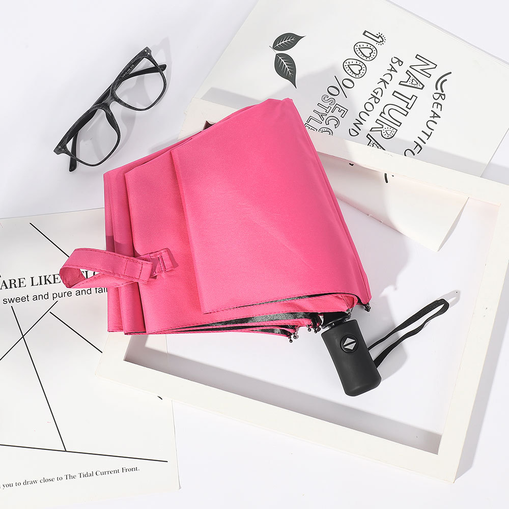 Creative Fully Automatic Folding Umbrella Vinyl UV-Protection Parasol 8 Bone Advertising Umbrella Customizable Logo Umbrella