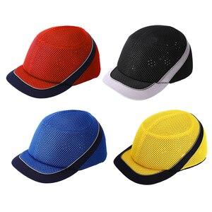 Image 1 - Tampão de colisão anti impacto capacetes de pouco peso capacete de segurança de trabalho de proteção com listras reflexivas respirável chapéu de segurança 4 cores