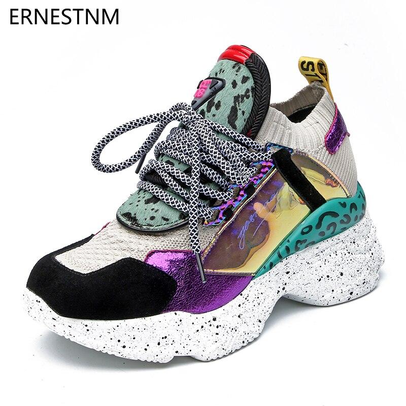 ERNESTNM 2019 Ankle Boots Plataforma Sneakers Mulheres 35-42 Preto Meia Botas de Crina De Cavalo Sapatos Casuais Respirável Sapatos Mulher Robusta