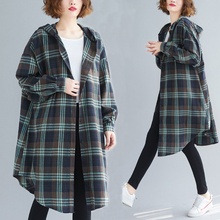Shirt Plaid Coat Hooded Spring Casual-Top Loose LZMONE And Autumn Large-Size Fashion