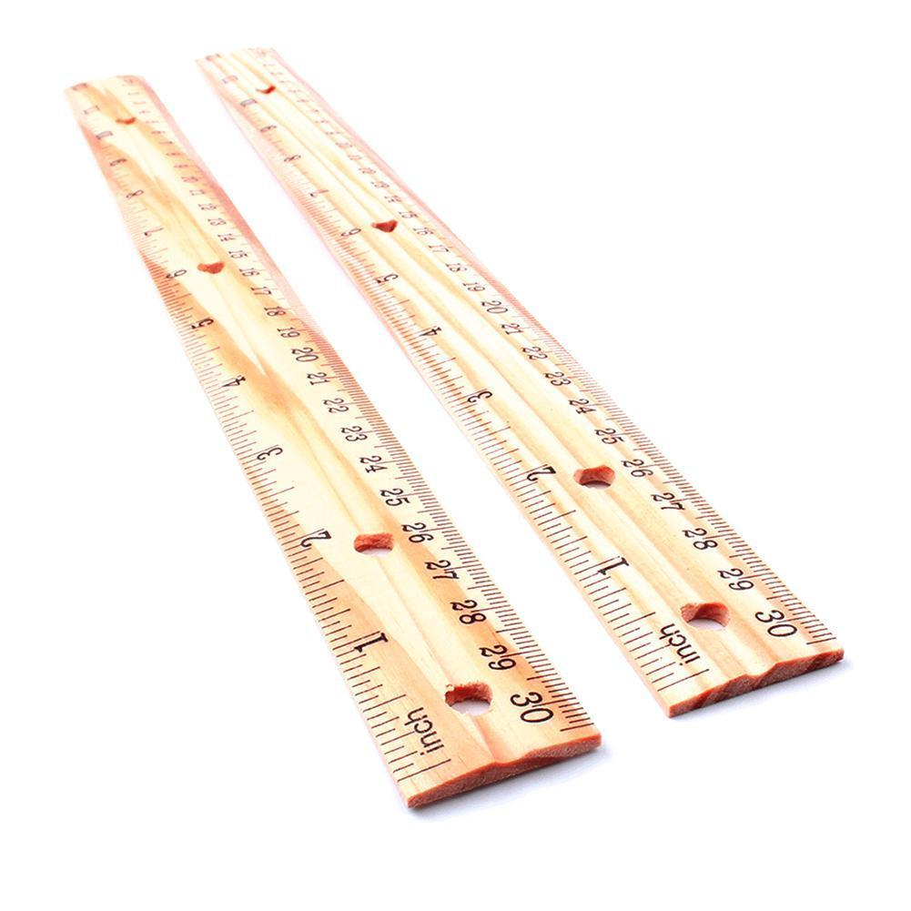 3PCS/Set Wooden Ruler 30cm Double Sided Metric Rule Learning Tool School Student Measuring Precision Stationery Y8C1