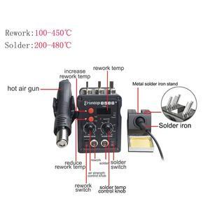 Image 5 - 2 ב 1 Eruntop 8586 + תצוגה דיגיטלית חשמלי הלחמה איירונס + אוויר חם אקדח טוב יותר SMD עיבוד חוזר תחנת משודרג 8586 מתכת Stand