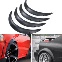 Samger 4x Plastic Car Body Wheel Eyebrow Fender Flares Flexible Durable Mud Flaps Mudguard Black