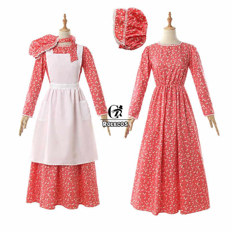 Rolecos Retro Hầu Gái Lolita Đầm Nón Tạp Dề Quần Lót Cotton Tay Dài Nữ Vintage Thời Trung Cổ Đầm Công Việc Nội Trợ Trang Phục Bộ