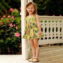 цена на Kids Girls V Neck Dress Summer Sleeveless Floral Printing Tight Waist Cotton Tops Kids Girl Dress