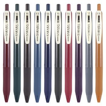 Zebra Sarasa JJ15 Clip Retractable Retro Design Gel Ink Pen Rubber Grip 0.5 mm Vintage Colors 10 Colour Bundle