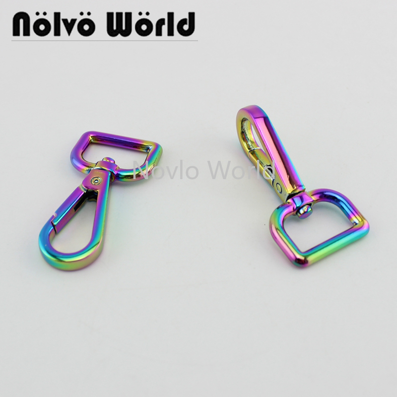 Wholesale 500pcs, 52*19mm 3/4 Inch, Rainbow High Fashion Metal Buckle Handbag Purse Snap Hook Lobster Buckle Diy Clasp Hooks