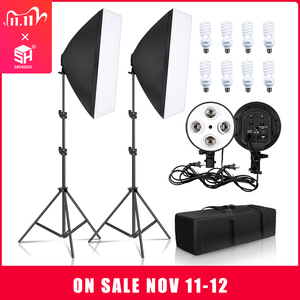 Image 1 - Photography Lighting 50x70CM Four Lamp Softbox Kit E27 Holder With 8pcs Bulb Soft Box AccessoriesFor Photo Studio Video