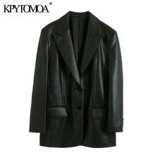 KPYTOMOA женские Модные свободные блейзеры из искусственной кожи, пальто с длинными рукавами и карманами сзади, женская верхняя одежда, шикарны...