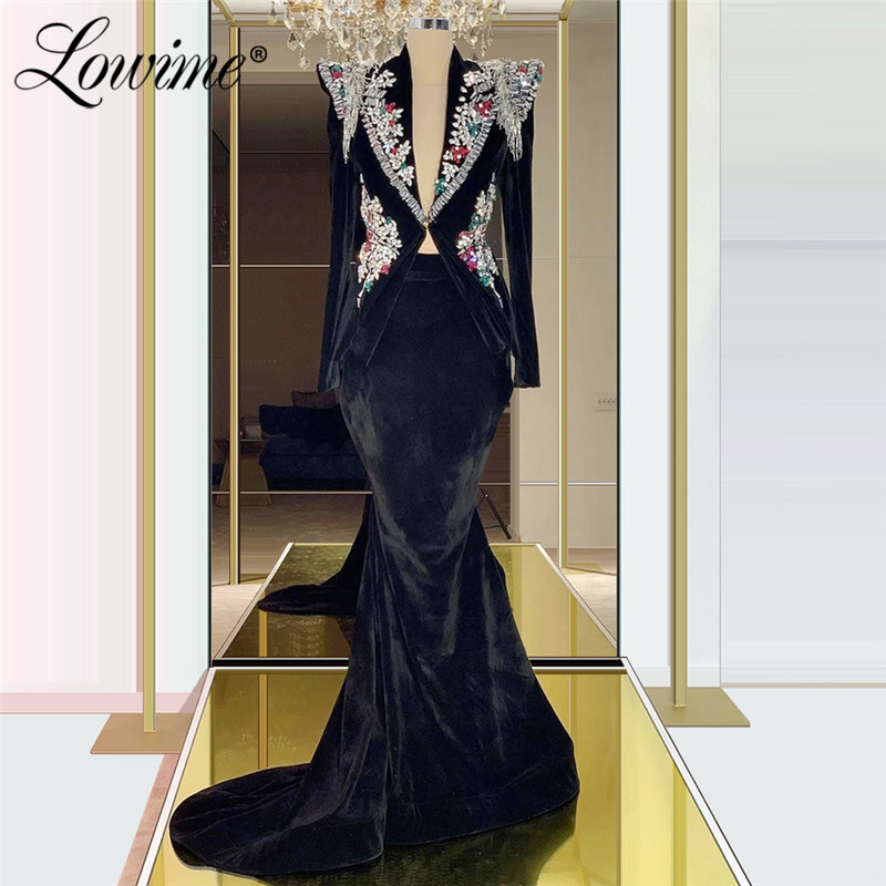Black Velvet Evening Dress V Neck Beaded Crystals Long Sleeves Mermaid Turkish Dubai Dress For Party 2020 Custom Formal Dress