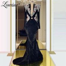 Vestido de noite de veludo preto v pescoço frisado cristais mangas compridas sereia turco dubai vestido para festa 2020 vestido formal personalizado