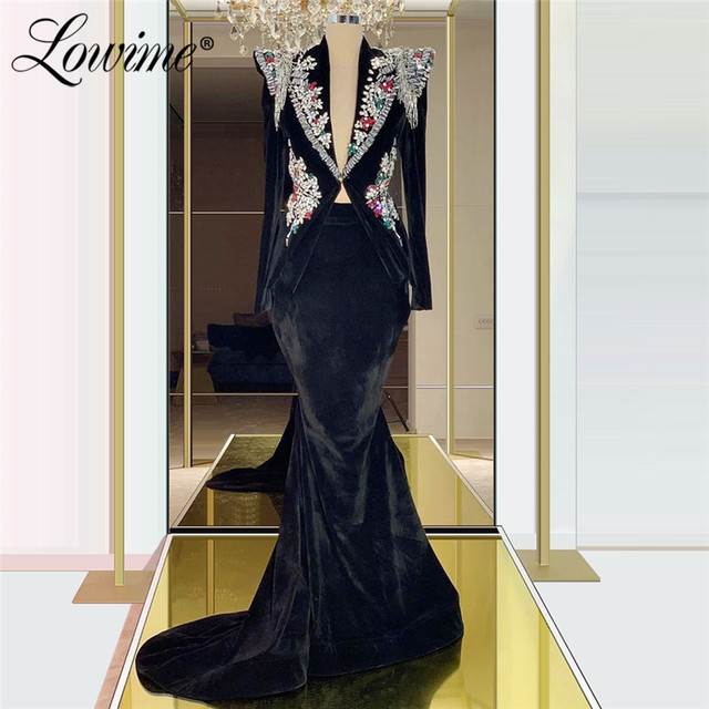 Zwart Fluwelen Avondjurk V hals Kralen Kristallen Lange Mouwen Mermaid Turkse Dubai Jurk Voor Party 2020 Custom Formele Jurk
