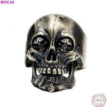 BOCAI skeleton RING s925 Sterling Silver rings for men Thai silver hand made domineering dark retro male index finger ring