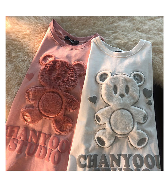Cotton Japanese Love Bear Couple Short Sleeve Top 2021 Early Spring Oversize Loose sweatshirt for Women 2