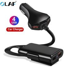 OLAF 60 Вт QC 3,0 USB Автомобильное зарядное устройство 4 порта для телефона Автомобильное быстрое переднее заднее зарядное устройство адаптер для iPhone huawei портативное быстрое зарядное устройство для телефона