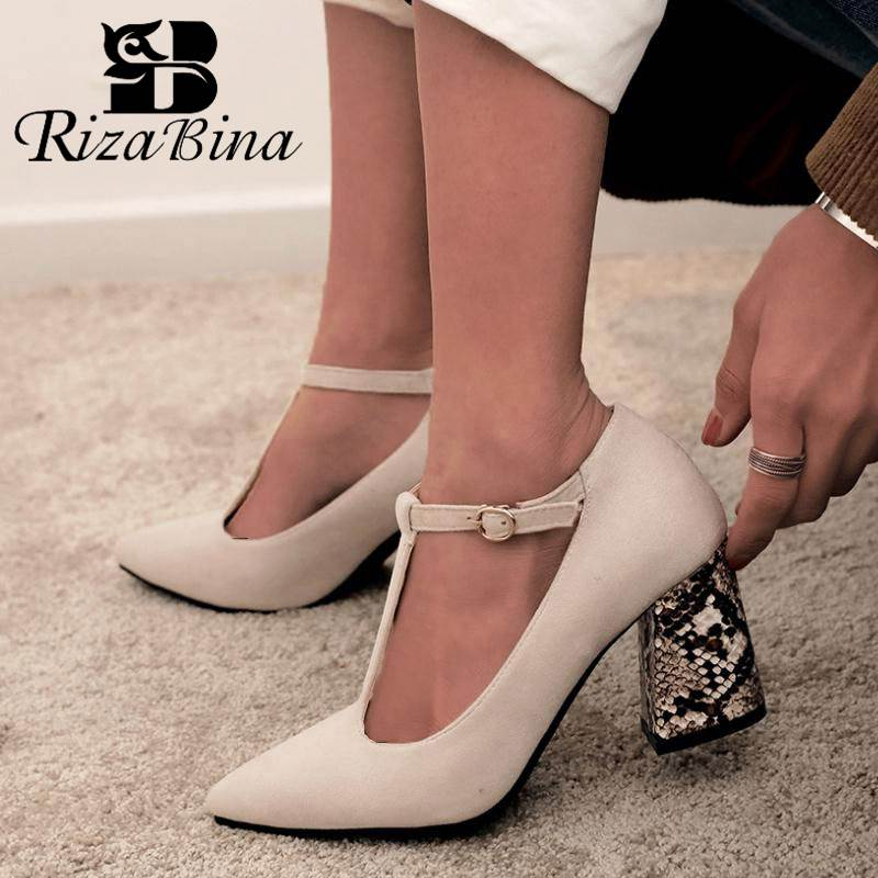 RIZABINA Plus Size 32-46 Women Pumps T-Strap Fashion Snake Print High Heels Shoes Women Sexy Pointed Toe Buckle Party Footwear