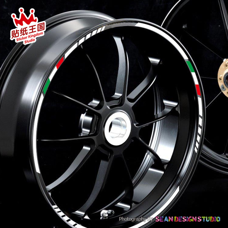 4 Strips For Aprilia MV Agusta Benelli Italy Wheel Sticker Reflective Rim Bike Motorcycle Suitable For 17.18-inch Tires