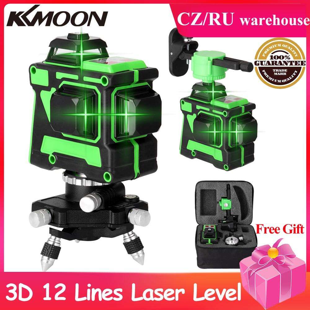 Niveau Laser 3D 12 lignes à nivellement automatique, télécommande sans fil 360 lignes transversales horizontales et verticales avec support mural de batterie