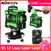 3D 12 Lines Laser Level Self-Leveling Wireless Remote 360 Horizontal Vertical Cross Lines With Battery Wall Bracket Nivel Laser