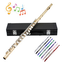 Professional Flutes Musical Instruments Chinese Dizi Flauta 16 Holes C Key Woodwind with Gloves Mini Screwdriver Padded Case