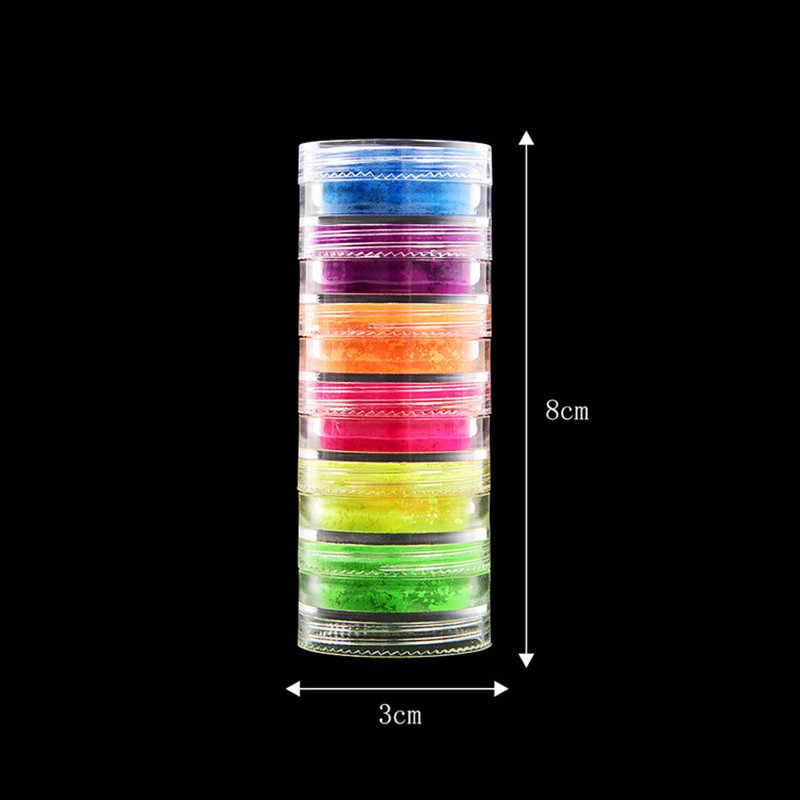 6 renkler/set makyaj floresan Neon Pigment göz farı makyaj paleti göz farı Glitter göz farı tırnak toz kozmetik