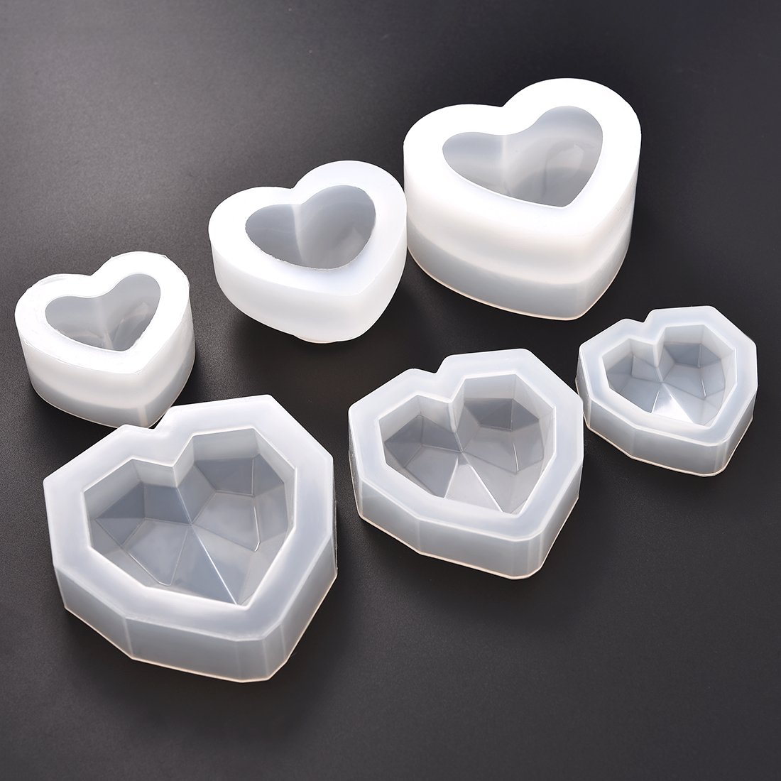 3D Heart Silicone Resin Molds Jewelry Making Mold For UV Epoxy Jewelry Tools DIY Key Chain Pendants