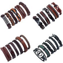 Vintage 6Pcs/Sets Handmade Ethnic Tribal Genuine Leather Wrap Male Bracelet Sets Pulsera Gothic Punk Bracelets Bangles