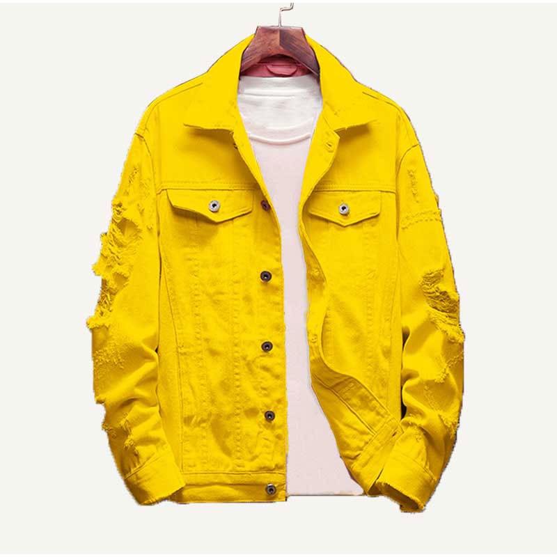 秋女性ジャンコートボーイフレンドバギー生き抜く基本コートジャケットママジーンズ プラスサイズ破れ黄色デニムジャケット Deniz Princess