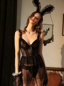 Image 1 - Sexy Nightgowns Lace Nightdress Wedding Dress Open Back Cute Underwear Black V neck Sleepwear Lingerie for Women Summer