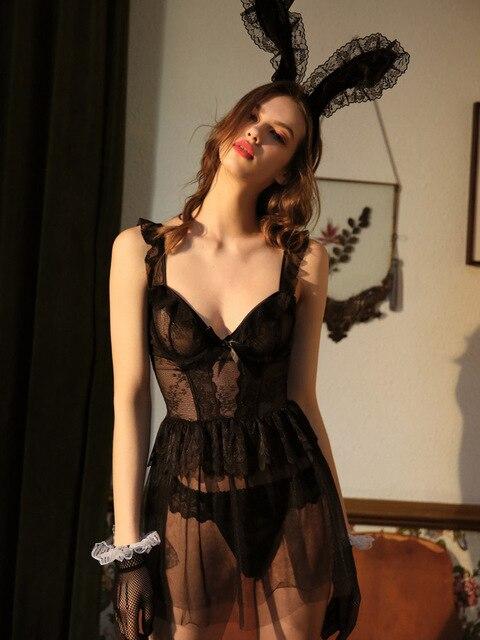 Sexy Nightgowns Lace Nightdress Wedding Dress Open Back Cute Underwear Black V neck Sleepwear Lingerie for Women Summer