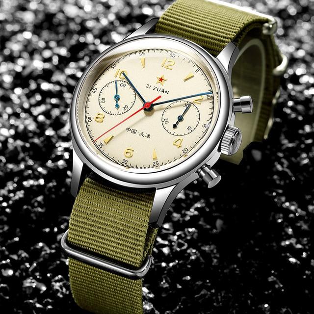 Fashion 38mm Men Chronograph Watches Sapphire Mechanical 1901 Seagull Movement Military Pilot Mens Chronograph Watch 1963 40mm 2