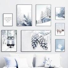 Inverno neve floresta pineta gado paisagem da parede arte da lona pintura nórdico cartazes andprints quadros de parede para sala estar decoração